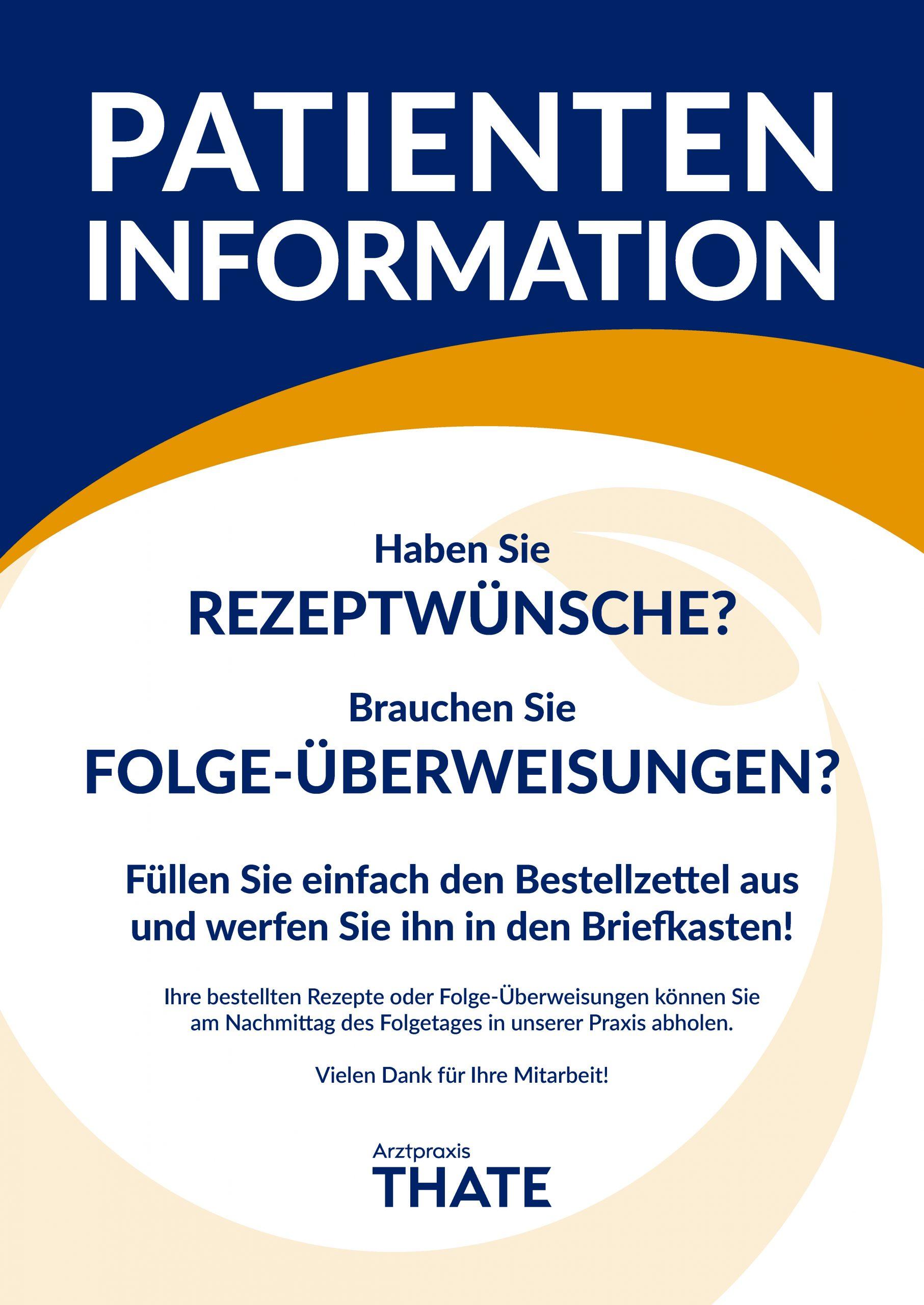 Patienteninformation Bestellzettel Arztpraxis Thate